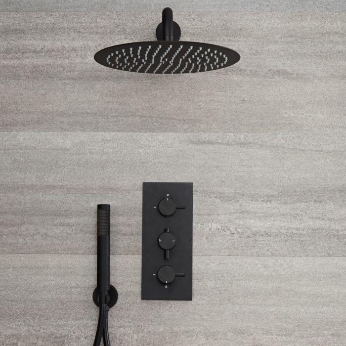 Llave de Ducha Termostática Empotrable Triple de 2 Funciones Negra con Alcachofa Redonda de 300mm y Telefonillo – Nox