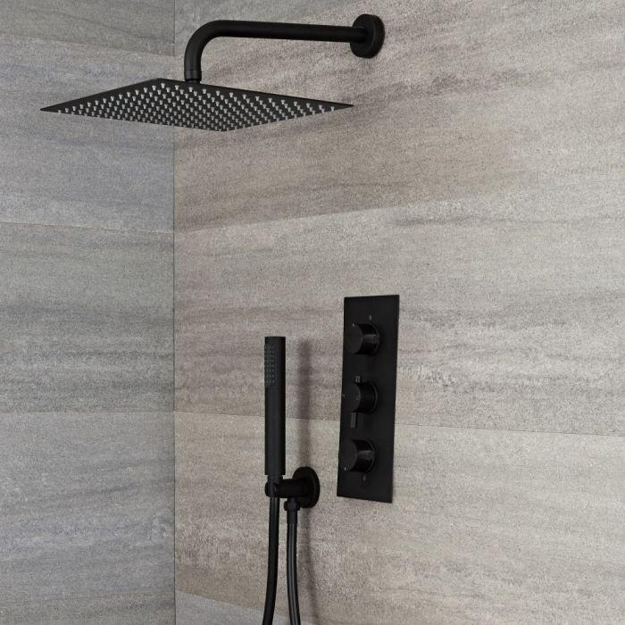 Llave de Ducha Termostática Empotrable Triple de 2 Funciones Negra con Alcachofa Cuadrada de 300x300mm y Telefonillo – Nox