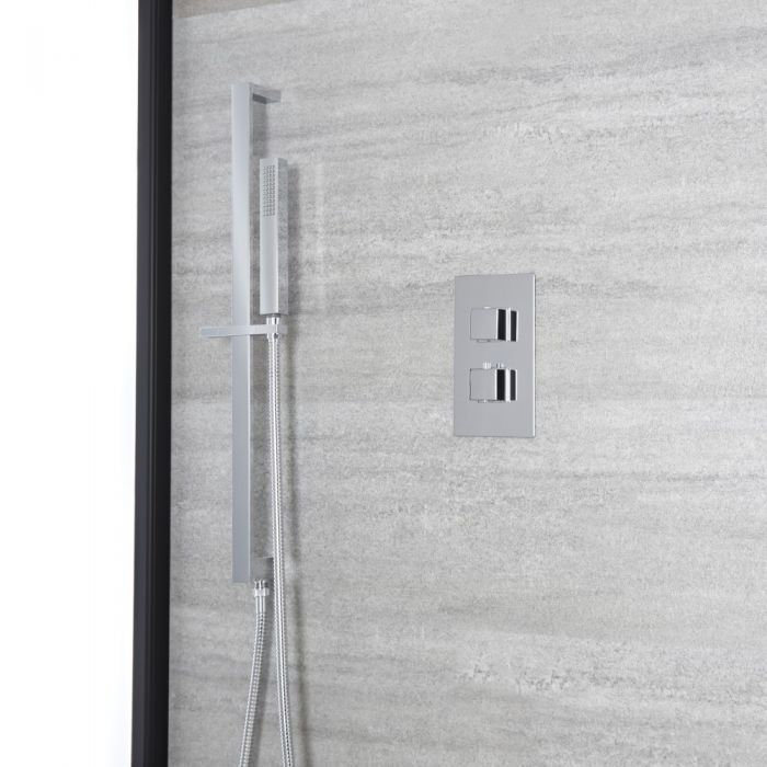 Conjunto de Ducha Moderno con Mezclador de Ducha Termostático Cuadrado Cromado de 1 Función y Kit con Barra de Ducha Deslizante - Kubix