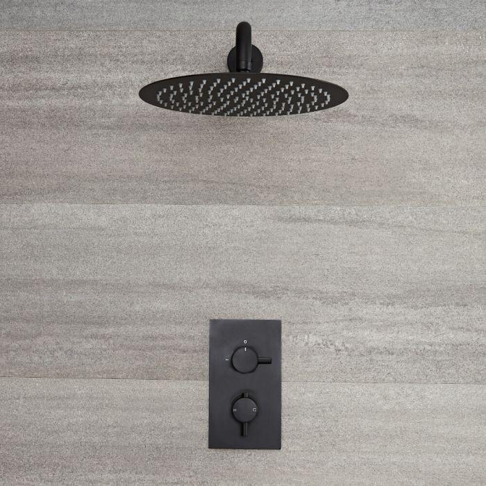 Llave de Ducha Termostática Empotrable de 1 Función Negra con Alcachofa de Ducha Redonda de 300mm y Brazo de Ducha  - Nox