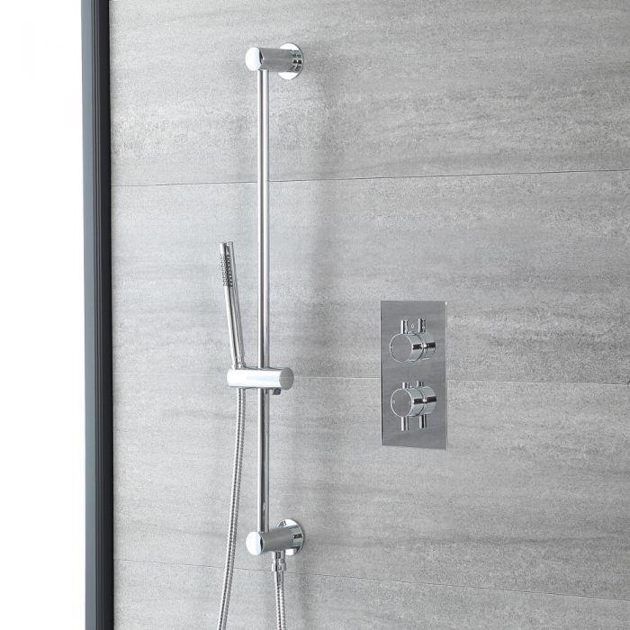 Conjunto de Ducha con Mezclador de Ducha Termostático Cromado de 1 Función con Barra de Ducha Deslizante y Telefonillo Redondo - Como