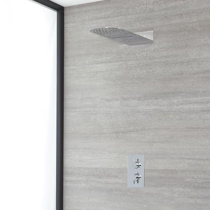 Conjunto de Ducha Cromado Moderno con Mezclador de Ducha Termostático Redondo de 2 Funciones con Desviador con Alcachofa de Ducha Ultraplana con Efecto Lluvia y Cascada - Como