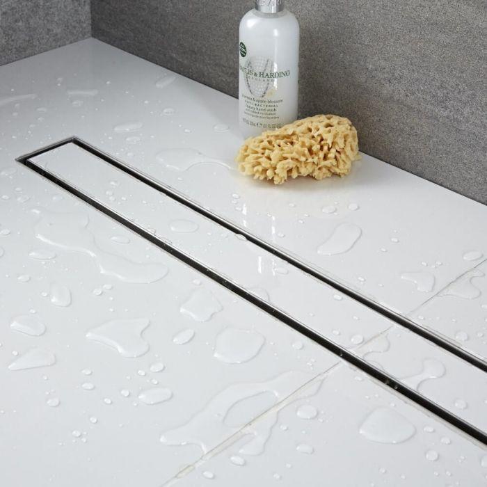 Canaleta Lineal de 400mm para Ducha de Obra con Acero Inoxidable con Sección para  Enlosar para Baldosas
