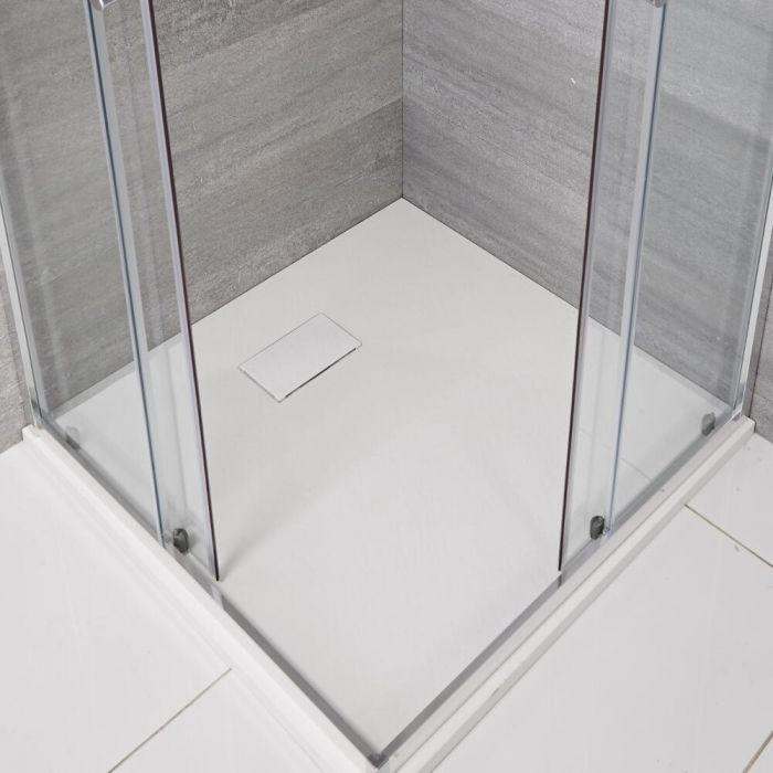 Plato de Ducha Cuadrado Efecto Piedra de Color Blanco Opaco de 900mm - Rockwell