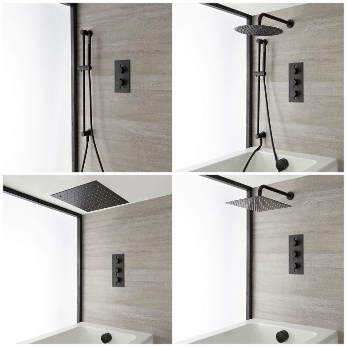 Kit de Ducha y Bañera Termostático Negro - Elección de Funciones - Nox