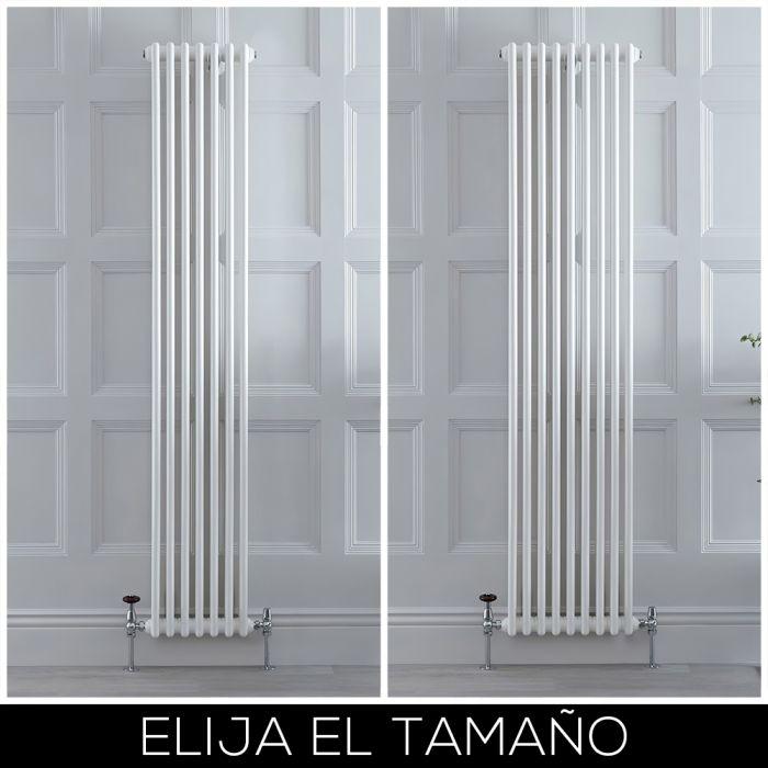 Radiador Tradicional en Estilo Hierro Fundido Vertical Blanco con Columnas Dobles - Disponible en Distintas Medidas - Stelrad Regal por Hudson Reed