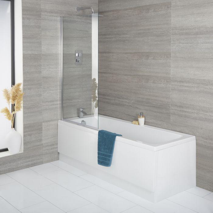 Conjunto Completo con Bañera, Mampara de Bañera Cuadrada y Faldón Frontal Exton - Disponible en Distintas Medidas