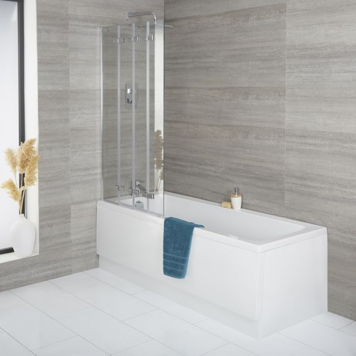 Conjunto Completo con Bañera, Mampara de Bañera Plegable y Faldón Frontal Exton - Disponible en Distintas Medidas