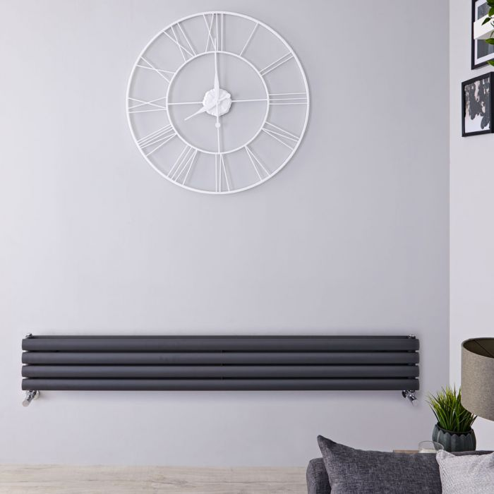 Radiador de Diseño Horizontal Doble - Antracita - 236mm x 1780mm x 78mm - 920 Vatios - Revive