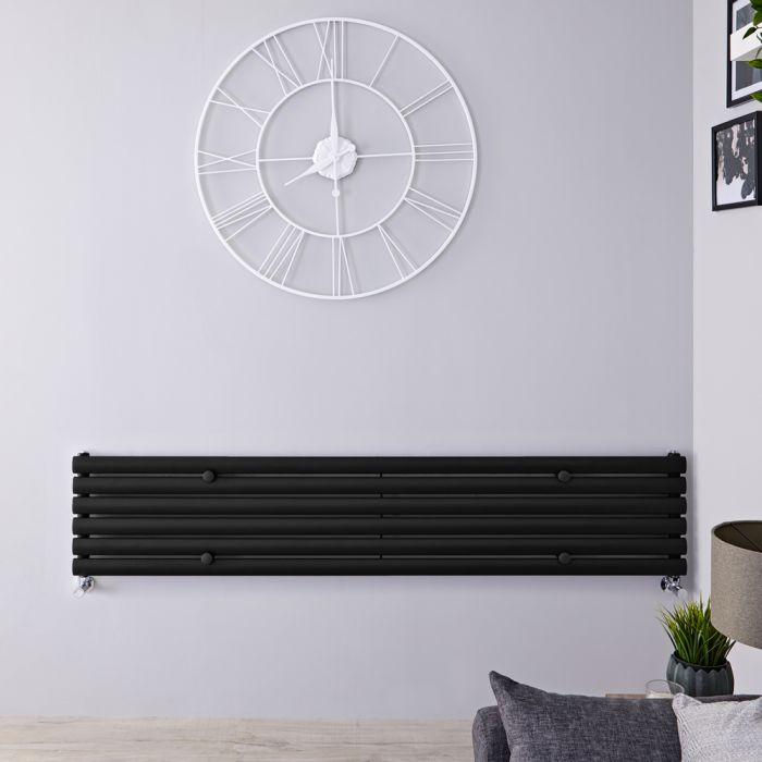 Radiador de Diseño Horizontal - Negro Mate- 354mm x 1780mm x 56mm - 888 Vatios - Revive
