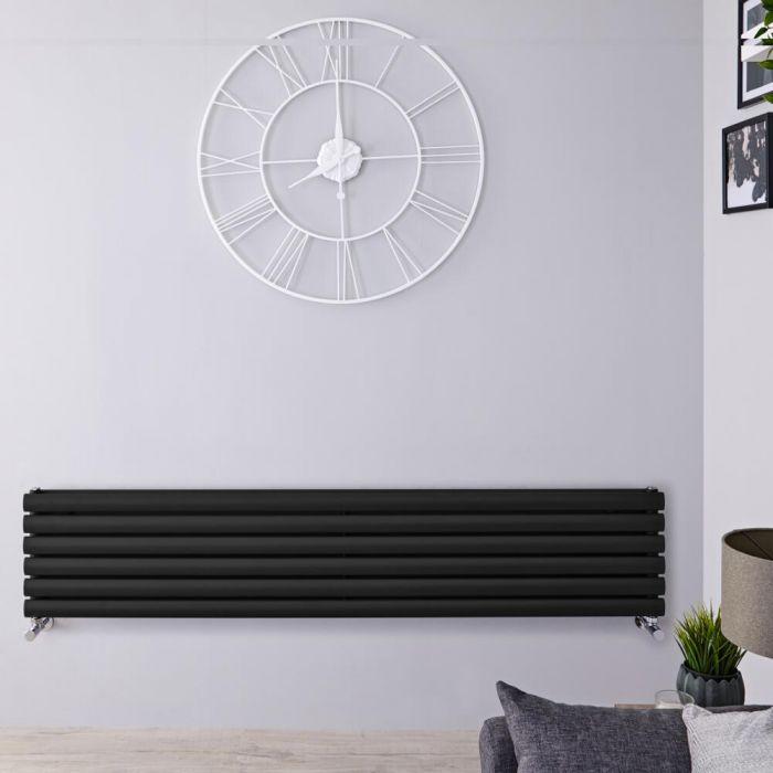 Radiador de Diseño Horizontal Doble - Negro Mate - 354mm x 1780mm x 78mm - 1324 Vatios - Revive