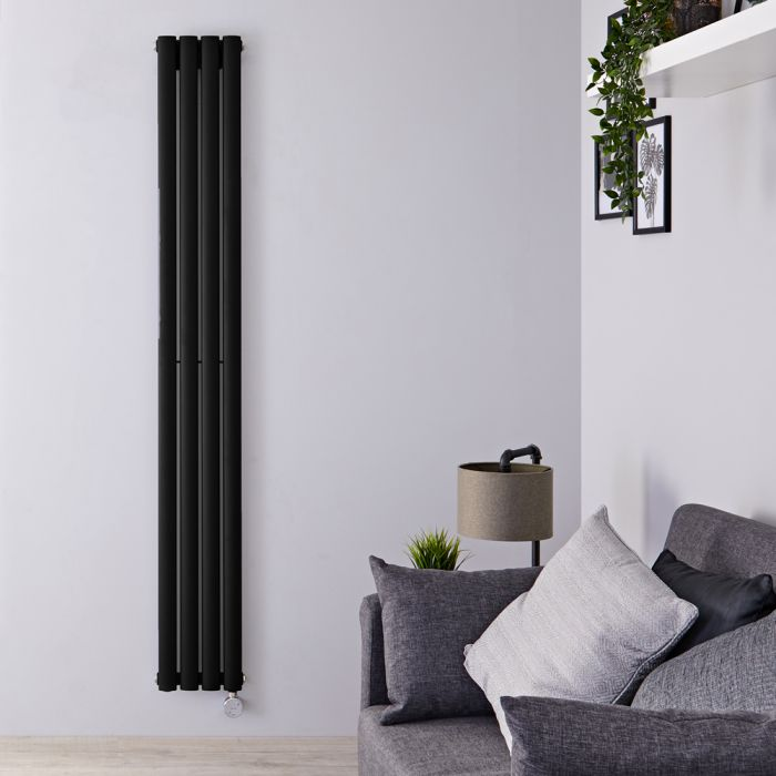 Radiador de Diseño Eléctrico Vertical - Negro Mate - 1780mm x 236mm x 56mm - Elemento Termostático de 800W - Revive