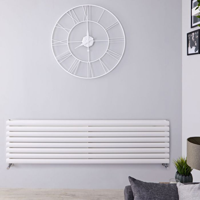 Radiador de Diseño Horizontal Doble - Blanco - 472mm x 1780mm x 78mm - 1798 Vatios - Revive