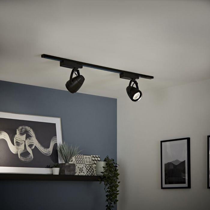 Kit con Carril de Techo Negro LED de 12W - Disponible en Distintas Medidas