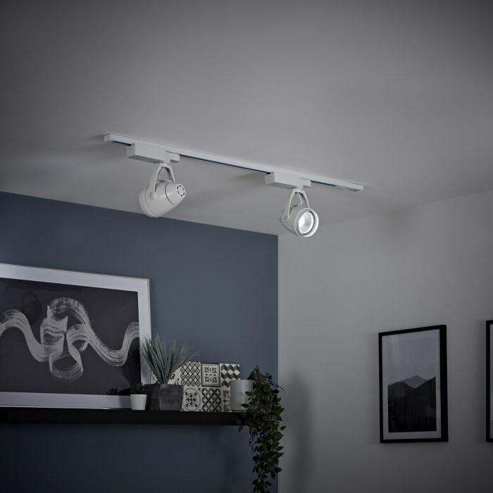 Kit con Carril de Techo Blanco LED de 12W - Disponible en Distintas Medidas
