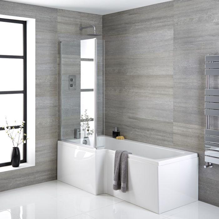 Bañera Cuadrada Versión Izquierda de 1700mm x 850mm Sandford - Selección de Faldones, Mamparas de Bañera y Válvulas de Desagüe
