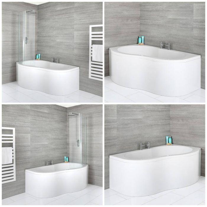Bañera Angular de 1500mm x 1000mm con Faldón Disponible con Opción de Mampara y en Versión Derecha o Izquierda - Ashbury