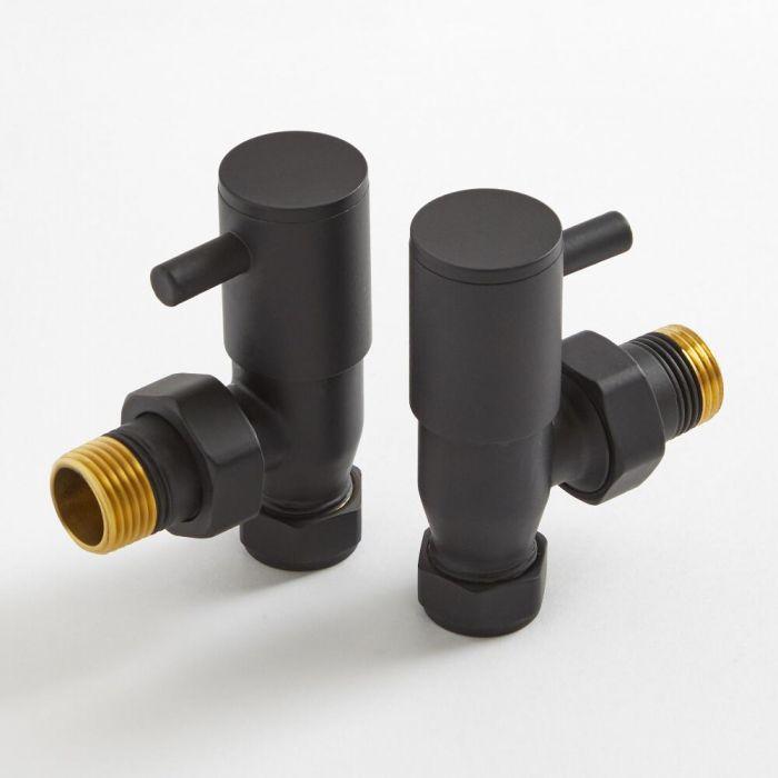Par de Llaves Angulares Negras para Radiador y Radiador Toallero para Tubos de Cobre de 15mm