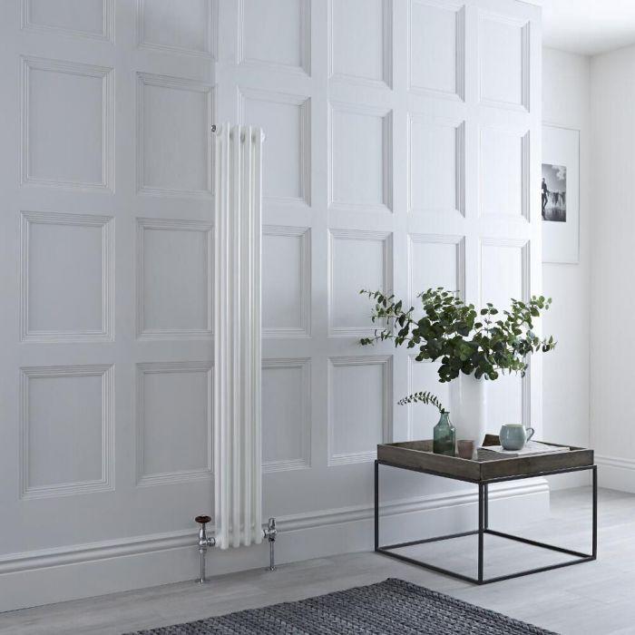 Radiador de Diseño Vertical Doble Tradicional - Blanco - 1500mm x 200mm x 68mm - 548 Vatios - Regent