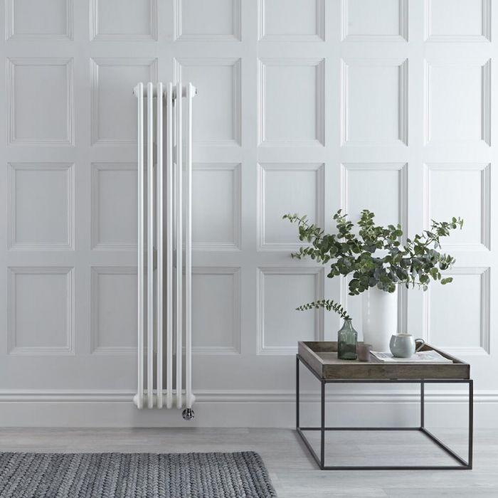 Radiador de Diseño Eléctrico - Vertical Doble Tradicional - Blanco - 1500mm x 290mm - Elemento Eléctrico de 1000W - Regent