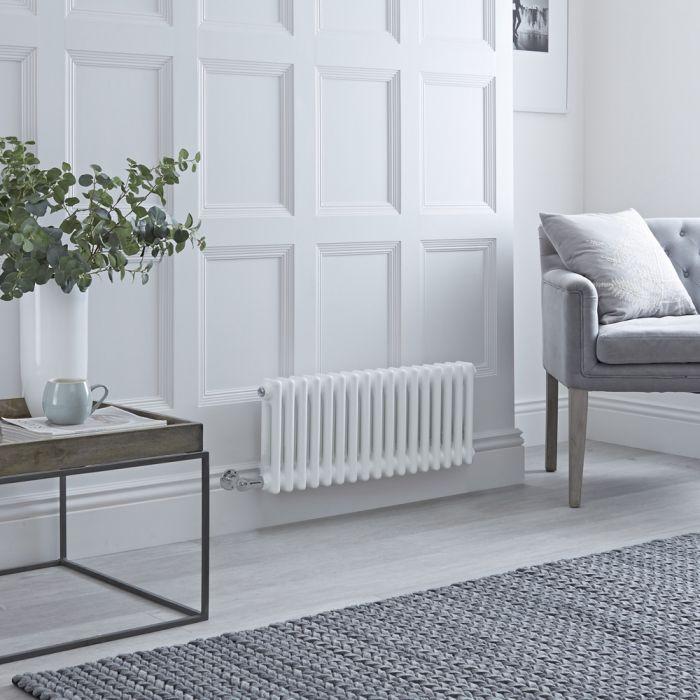 Radiador de Diseño Eléctrico - Horizontal Doble Tradicional - Blanco - 300mm x 785mm - Disponible con Distintos Termostatos WiFi - Windsor