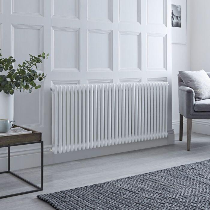 Radiador de Diseño Eléctrico - Horizontal Doble Tradicional - Blanco - 600mm x 1505mm - Disponible con Distintos Termostatos WiFi - Windsor