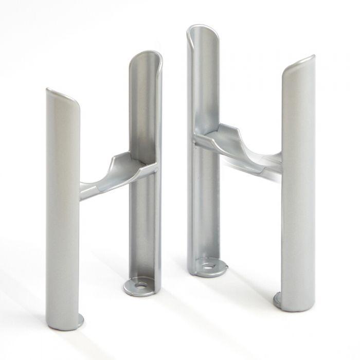 Conjunto de Soportes para Montaje a Suelo con Patas para Radiadores Tradicionales de 3 Columnas de Color Plateado Metalizado – Windsor