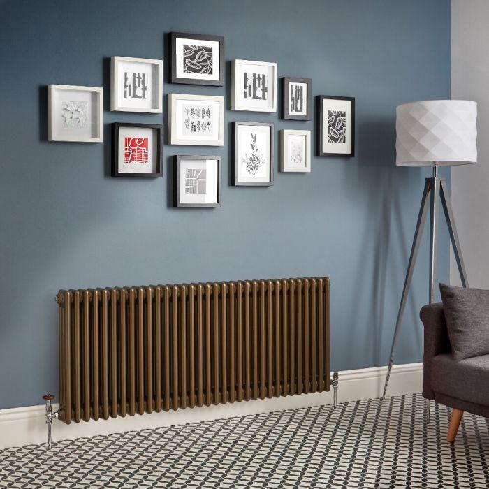 Radiador de Diseño Horizontal - Bronce Metalizado - Regent - Disponible en Distintas Medidas (Columnas Triples)