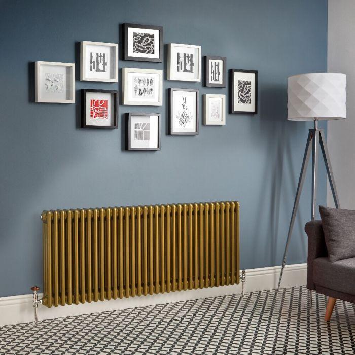 Radiador de Diseño Horizontal - Oro Metalizado - Regent - Disponible en Distintas Medidas (Columnas Triples)