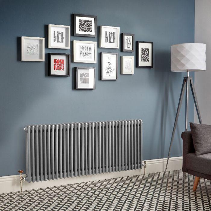 Radiador de Diseño Horizontal – Plateado Metalizado - Regent - Disponible en Distintas Medidas (Columnas Triples)