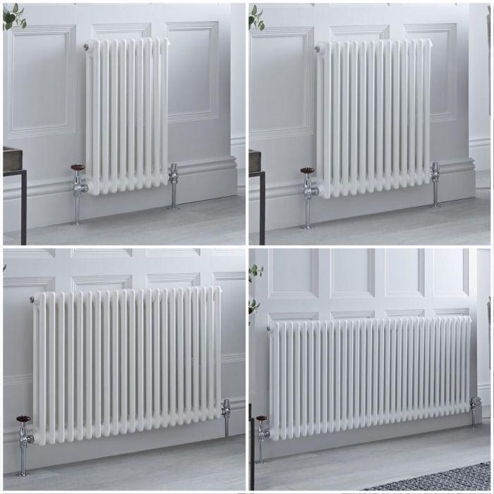 Radiador Tradicional Doble Horizontal Blanco Windsor – Disponible en Distintas Medidas y con Pies