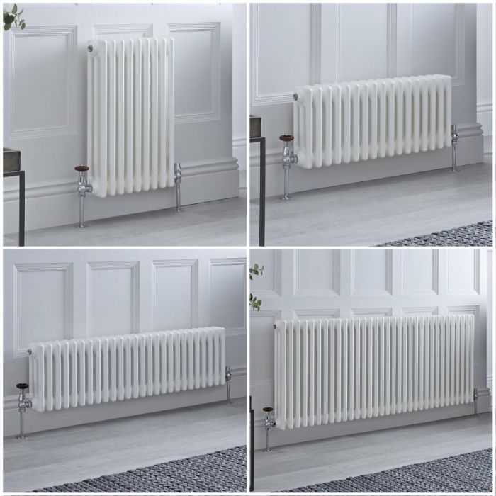 Radiador Tradicional Triple Horizontal Blanco Windsor – Disponible en Distintas Medidas y con Pies