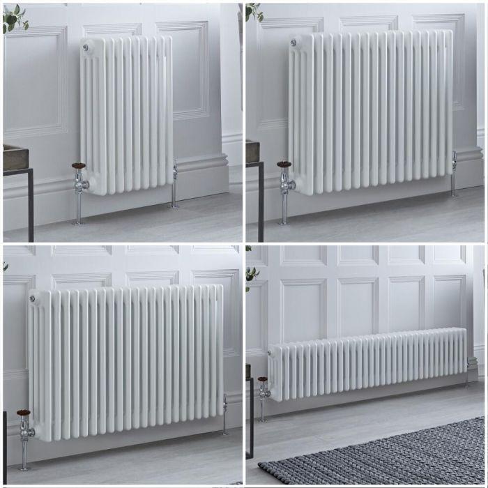Radiador Tradicional Cuádruple Horizontal Blanco Windsor – Disponible en Distintas Medidas y con Pies