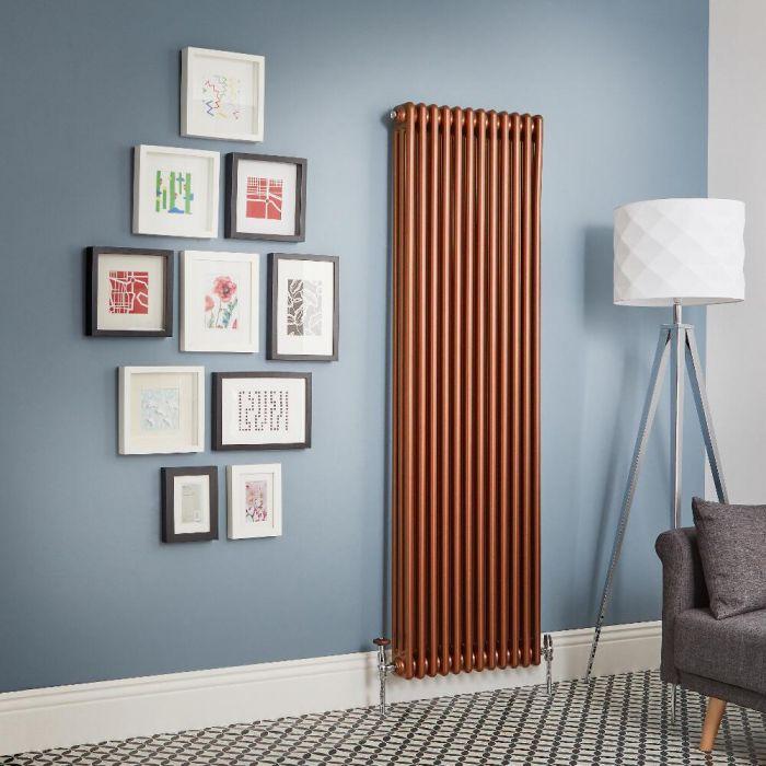 Radiador de Diseño Vertical - Cobre Metalizado - Regent - Disponible en Distintas Medidas (Columnas Triples)