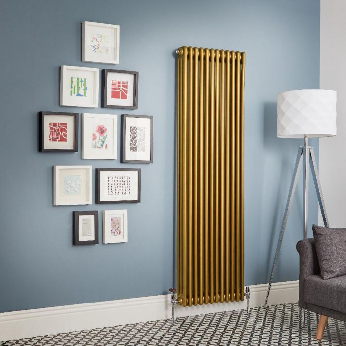Radiador de Diseño Vertical - Oro Metalizado - Regent - Disponible en Distintas Medidas (Columnas Triples)