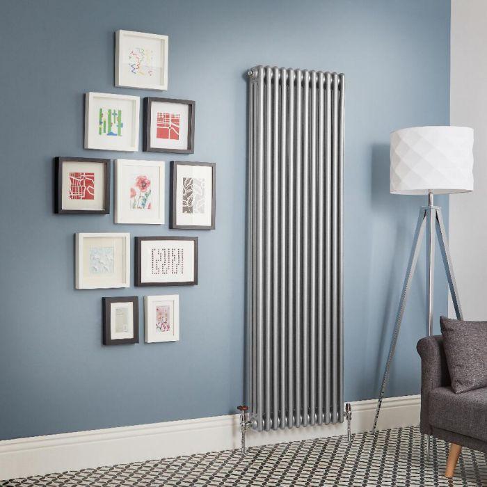 Radiador de Diseño Vertical - Plateado Metalizado - Regent - Disponible en Distintas Medidas (Columnas Triples)