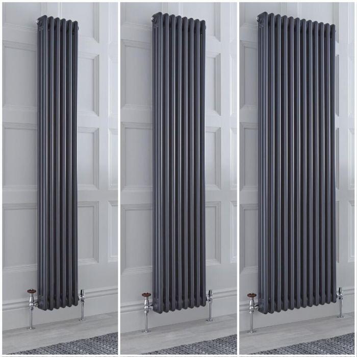 Radiador Tradicional Triple Vertical Antracita Windsor de 1800mm – Disponible en Distintas Medidas y con Pies