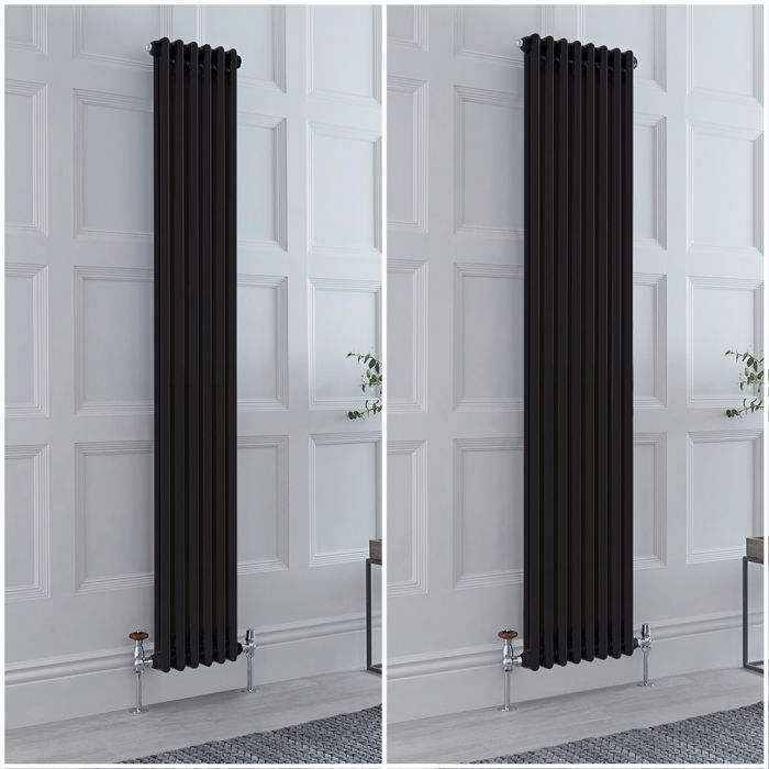 Radiador Tradicional Triple Vertical Negro Windsor de 1800mm – Disponible en Distintas Medidas y con Pies