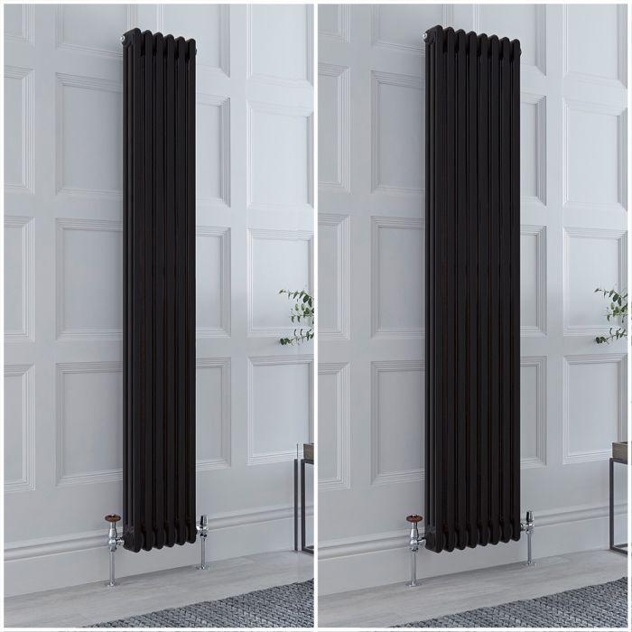 Radiador Tradicional Triple Vertical Negro Windsor de 1800mm – Disponible en Distintas Medidas y con Pies