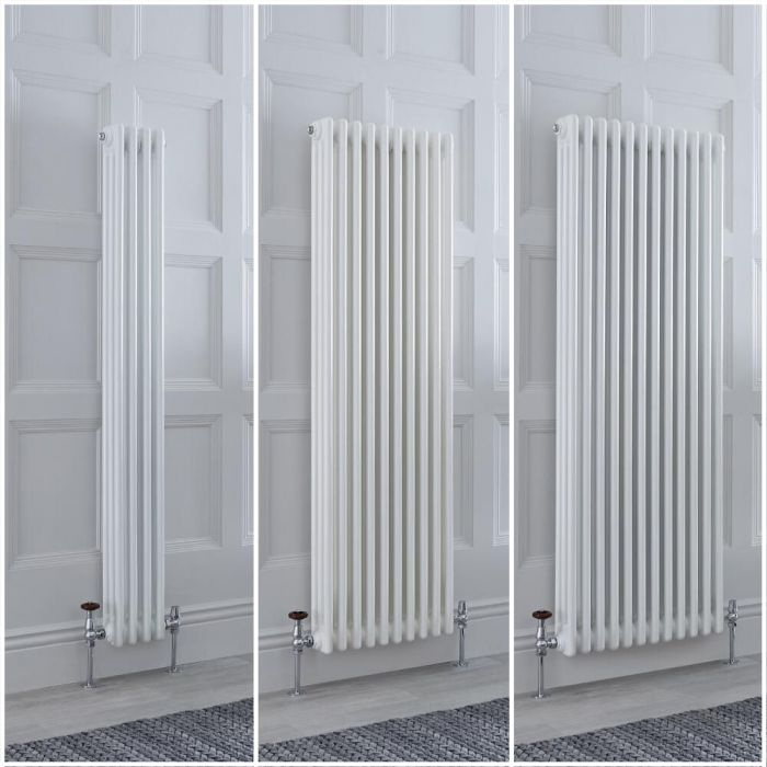 Radiador Tradicional Triple Vertical Blanco Windsor – Disponible en Distintas Medidas y con Pies