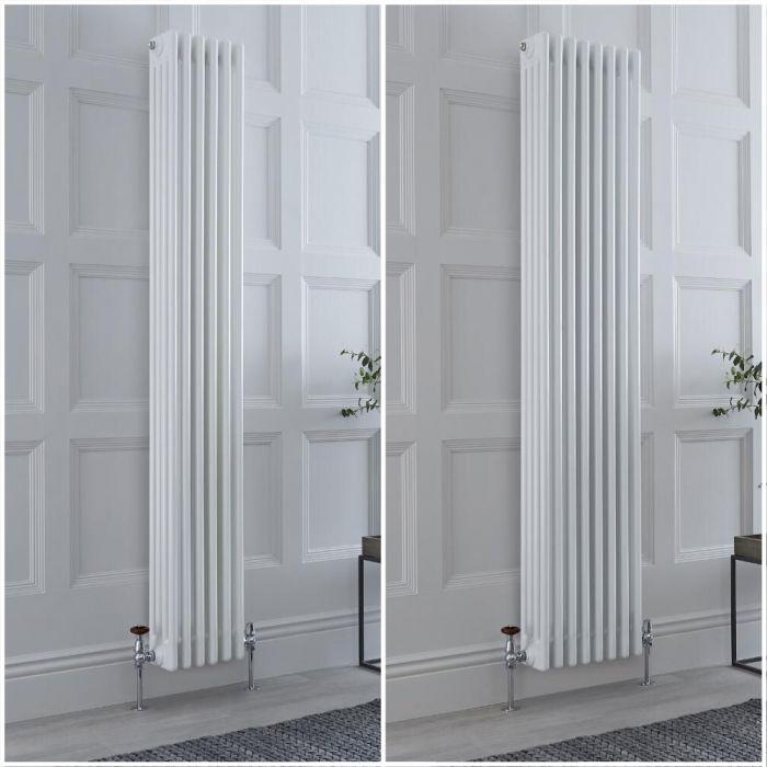Radiador Tradicional Cuádruple Vertical Blanco Windsor de 1800mm – Disponible en Distintas Medidas y con Pies