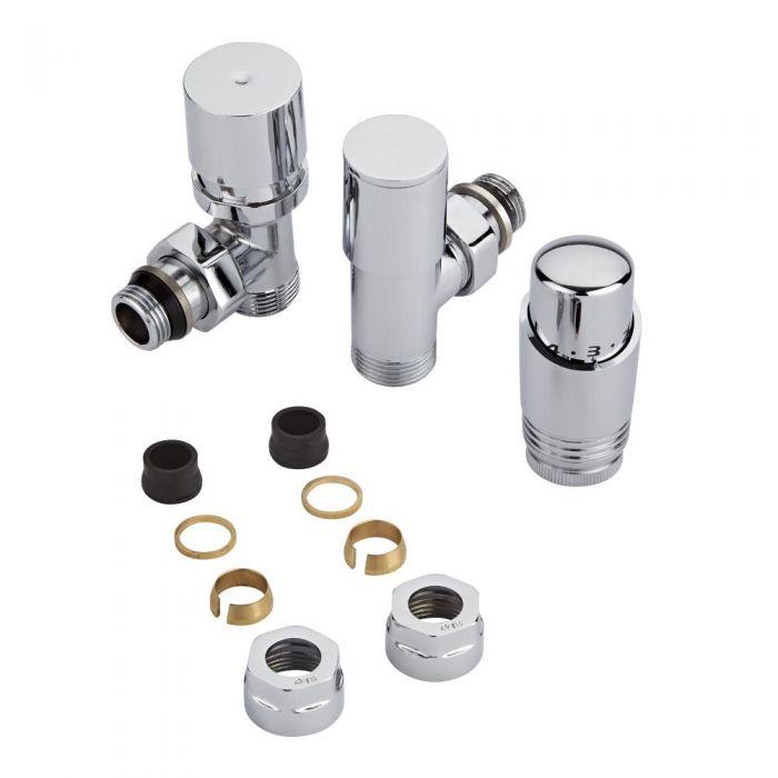 Par de Llaves Termostáticas Con Cabezal Cromado para Radiador y Toallero con Adaptadores para Tubos de Cobre de 16mm
