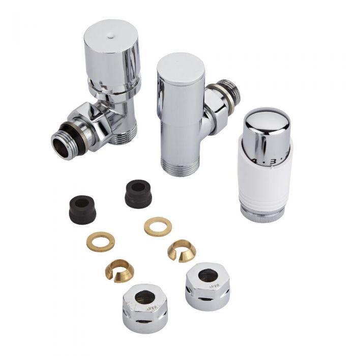 Par de Llaves Termostáticas Con Cabezal Blanco para Radiador y Toallero con Adaptadores para Tubos de Cobre de 12mm