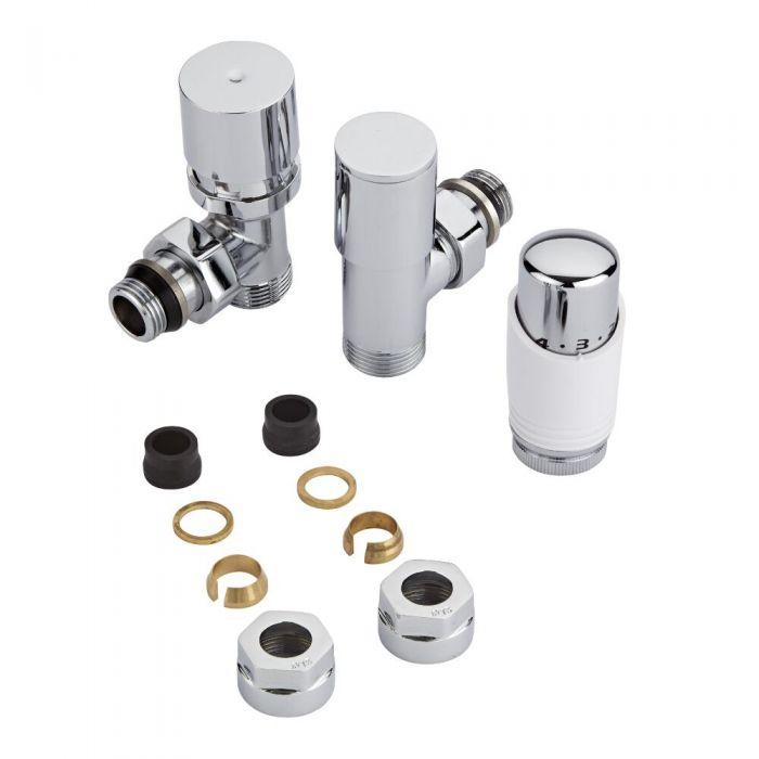Par de Llaves Termostáticas Con Cabezal Blanco para Radiador y Toallero con  Adaptadores para Tubos de Cobre de 15mm