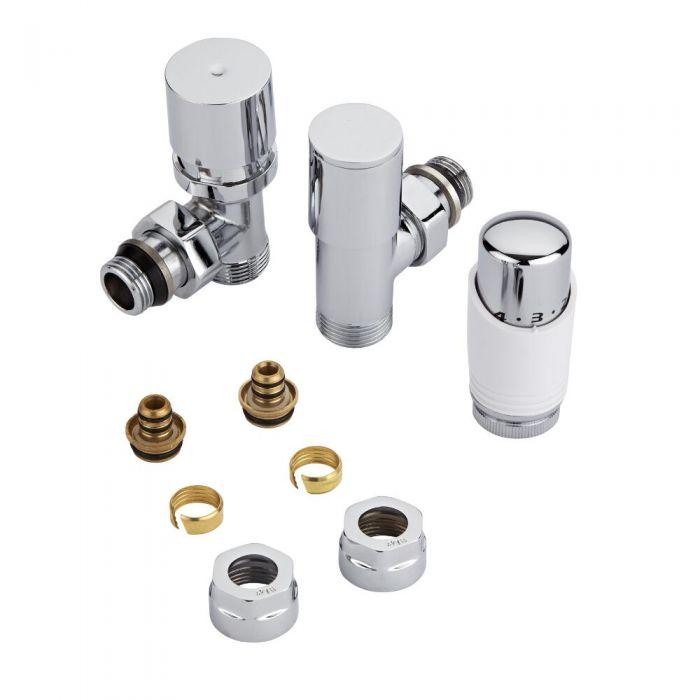 Par de Llaves Termostáticas Con Cabezal Blanco para Radiador y Toallero con Adaptadores para Tubos Pex o Multicapa de 16mm