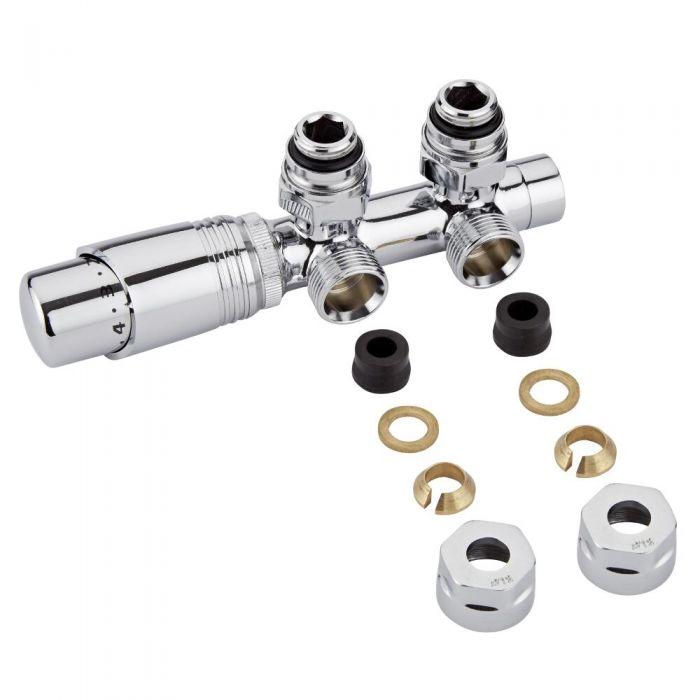 Llaves Angulares Cromadas para Radiador y Toallero con Cabezal Termostático Cromado y Adaptadores para Tubos de Cobre 12mm - Multiblock H