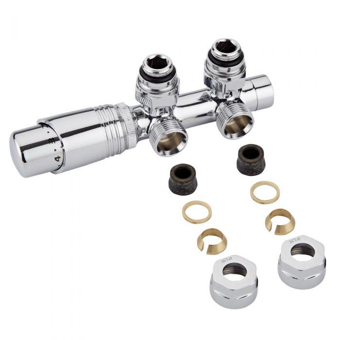 Llaves Angulares Cromadas para Radiador o Radiador Toallero Completo con Cabezal Termostático Cromado y Adaptadores para Tubos de Cobre 14mm - Multiblock H