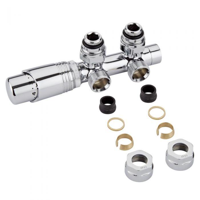 Llaves Angulares Cromadas para Radiador y Toallero con Cabezal Termostático Cromado y Adaptadores para Tubos de Cobre 16mm - Multiblock H