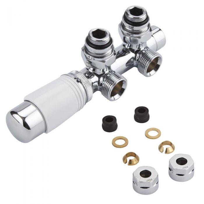 Llaves Angulares Cromadas para Radiador y Radiador Toallero con Conexión Central Completas con  Cabezal Termostático Cromado y Blanco y Adaptadores para Tubos de Cobre 12mm - Multiblock H