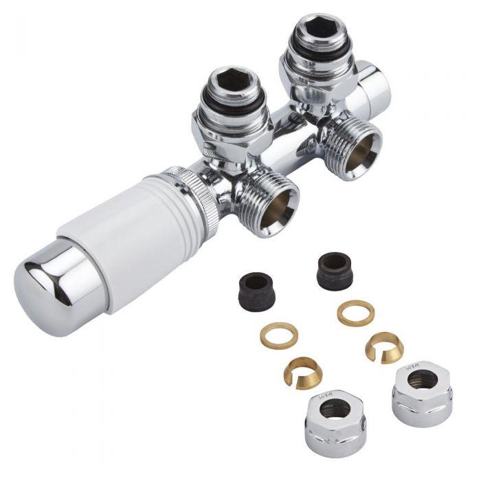 Llaves Angulares Cromadas para Radiador y Toallero con Conexión Central con Cabezal Termostático Cromado y Blanco y Adaptadores para Tubos de Cobre 14mm - Multiblock H